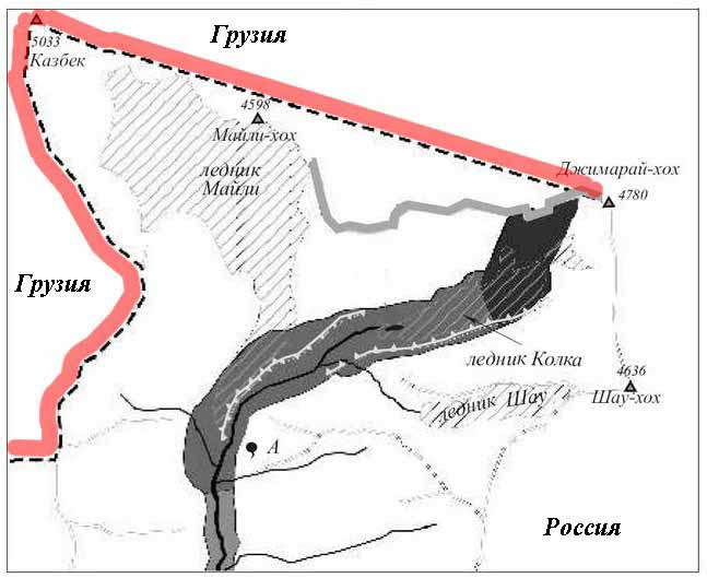 Гора казбек находится где